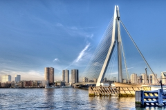 HDR High Dynamic Range Rotterdam skyline Erasmusbrug euromast kop van zuid B&B bed en and & breakfast hotel